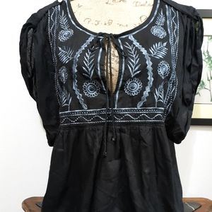 NWT Peasant Black with Blue Embroidery top…